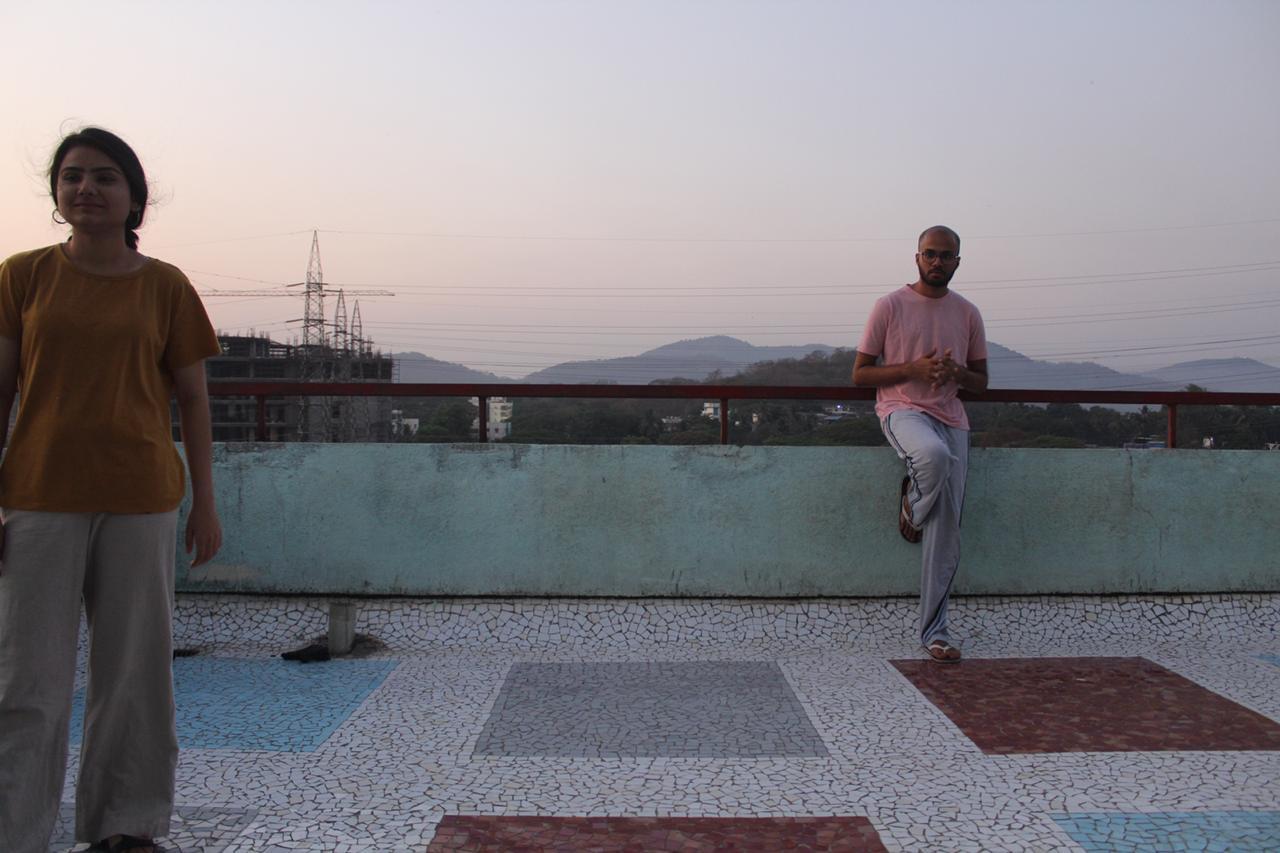 Rishi and Niharika on the Hostel 12 terrace