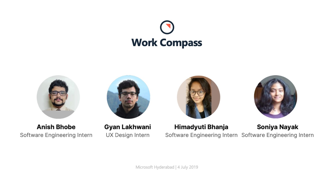 Faces of the 4 interns on my team at Microsoft - Anish, me, Himadyuti and Soniya.
