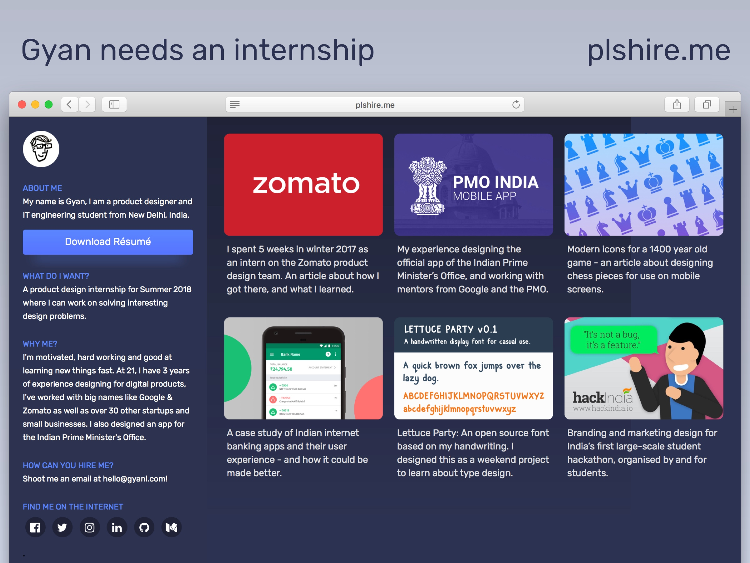Screenshot of my old portfolio website.