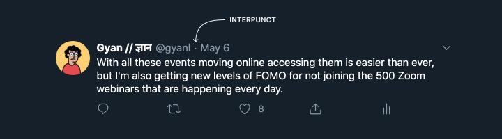 Screenshot of a tweet pointing out interpunct usage.